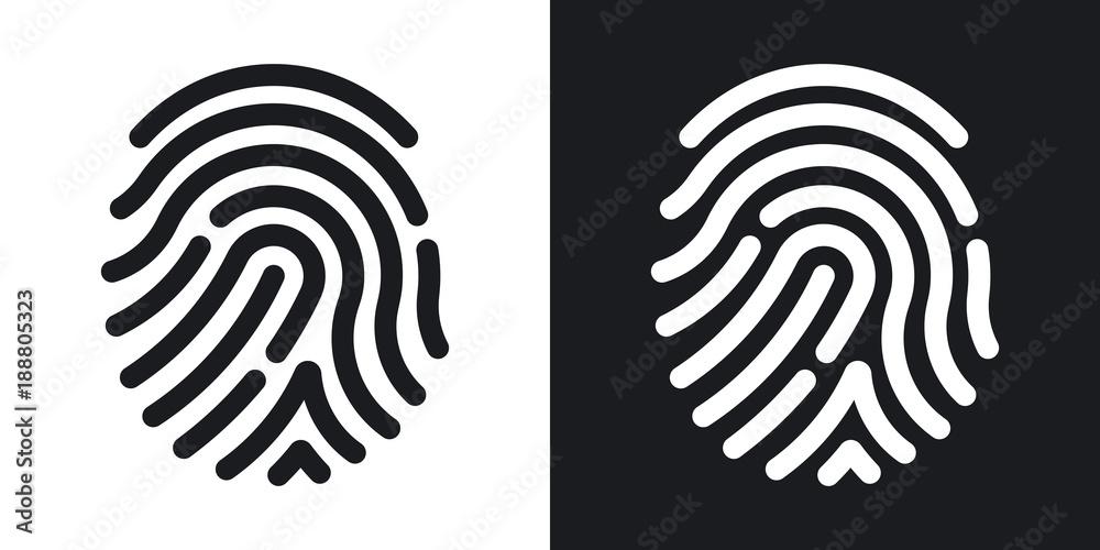 Fototapeta Fingerprint icon. Simple vector illustration on black and white background