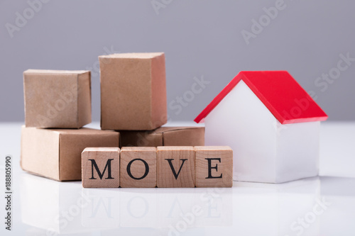 Move Text In Front Of Cardboard Boxes And House Model Buy