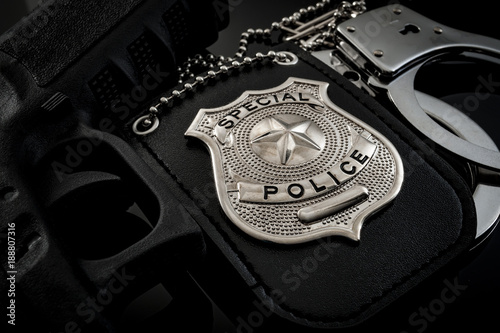 Fotografia Protect and serve, crime fighting and blue lives matter concept with a police ba