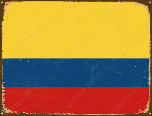 Vintage Metal Sign Colombia Flag Vector Eps10 Grunge Scratches