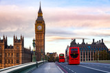 Fototapeta Big Ben - London cityscape with Double Decker buses move along the Westminster Bridge to Elizabeth Tower or Big Ben Palace of Westminster