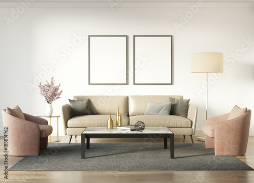 Fotografia  Contemporary chic interior with a dark beige sofa and salmon red armchairs