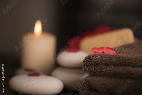 Poster Spa Wellness decoration on wooden table .Valentine's Day concept