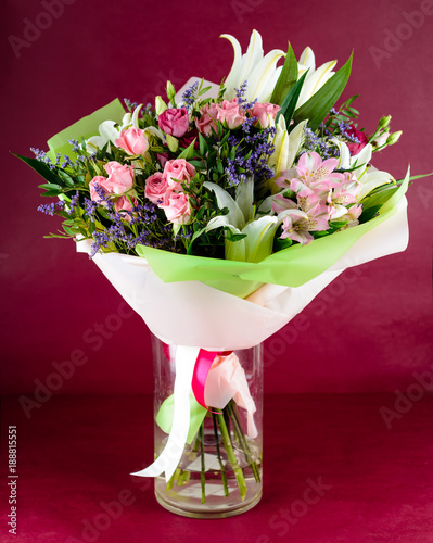 Beautiful Bouquet Of Pink Roses And Lily Flowers In A Vase On Pink
