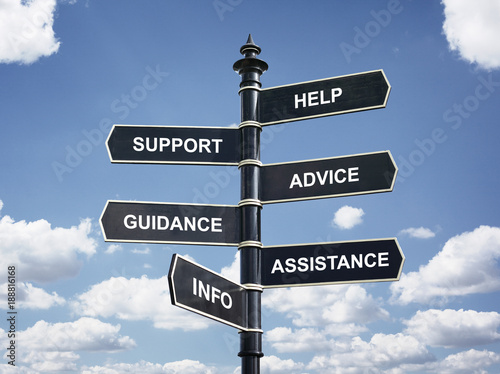 Fotomural Help, support, advice, guidance, assistance and info crossroad signpost