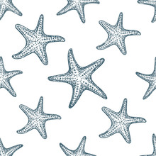 Seamless Pattern Starfish On White Background, Cartoon Illustration Of Beach Summer Background. Vector. Vector