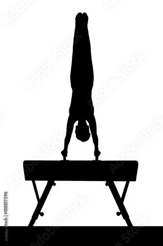 Tuinposter Gymnastiek Mann macht einen Handstand auf einem Bock als Silhouette in schwarz / Weiß
