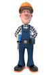 3d illustration Builder worker in overalls