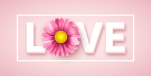 Love Typography With Pink Dais...
