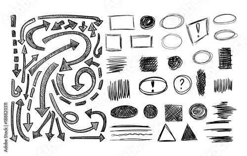 Valokuva VECTOR collection of sketched elements and different scribble arrows, shaded arrow, circle, drawn square frames, undeline strokes