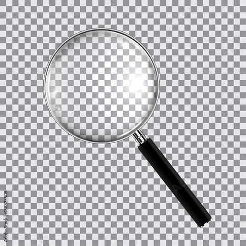 Obraz Magnifying glass realistic isolated on checkered background, vector illustration - fototapety do salonu