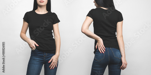 Obraz front and back view of young woman in blank black t-shirt isolated on white - fototapety do salonu