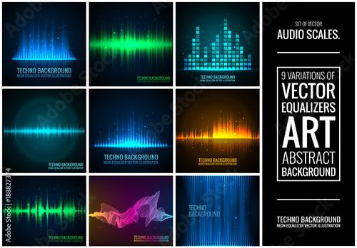 Photo  Set of vector audio scales.