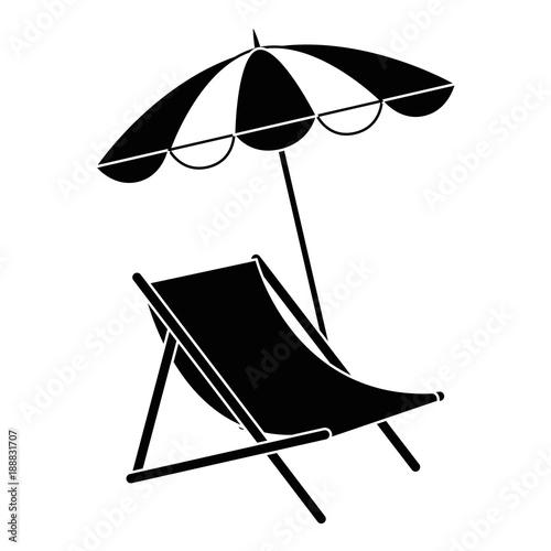 Slika na platnu beach chair with umbrella vector illustration design