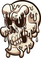 Melting Cartoon Skull. Vector ...