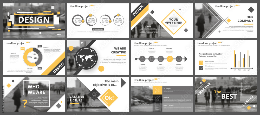 Fototapety, obrazy: Abstract white, yellow, slides. Brochure cover design. Fancy info banner frame. Creative set of infographic elements. Urban. Title sheet model set. Modern vector. Presentation templates, corporate.
