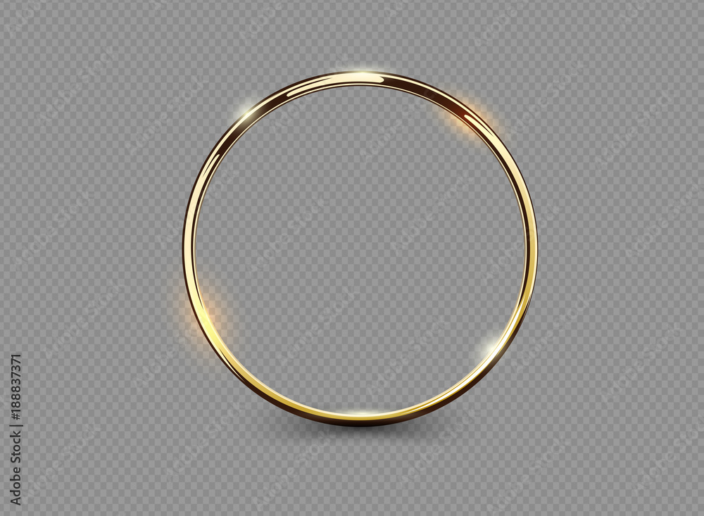 Fototapety, obrazy: Abstract luxury golden ring on transparent background. Vector light circles spotlight light effect. Gold color round frame.