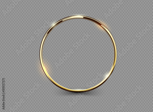 Obraz na plátne Abstract luxury golden ring on transparent background