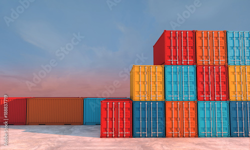 Fotomural  Stack of containers box, Cargo freight ship for import export business