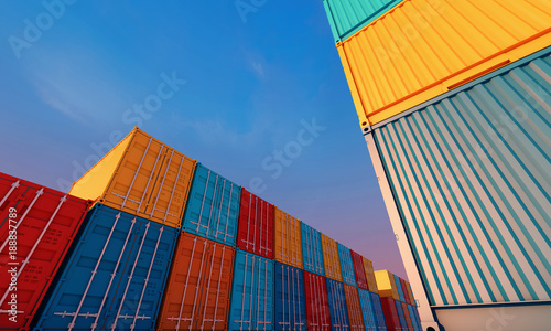 Stack of containers box, Cargo freight ship for import export business Canvas Print