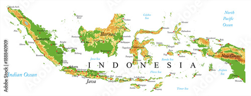 Indonesia Relief map Canvas Print