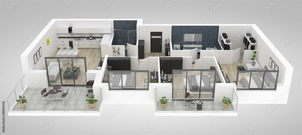 Fototapety, obrazy: Floor plan of a house top view 3D illustration. Open concept living appartment layout
