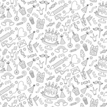 Birthday Doodle Icons Line Seamless Vector Pattern
