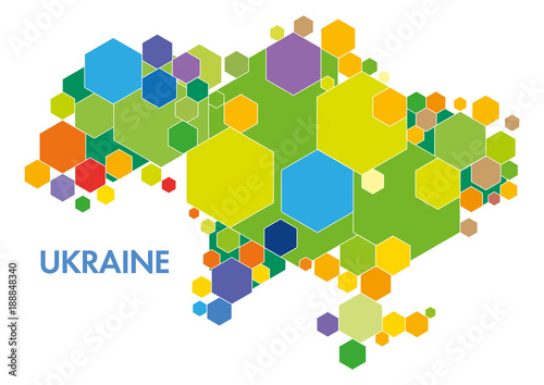 Fotografie, Obraz Vector Ukraine map colored figures hexagons infographics