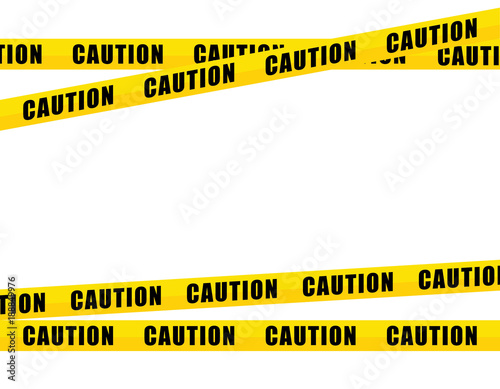 Fotografia  yellow caution tape, isolated on white background