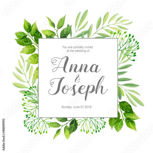 Wedding invitation with green leafs border vector illustration wedding invitation with green leafs border vector illustration stopboris Gallery