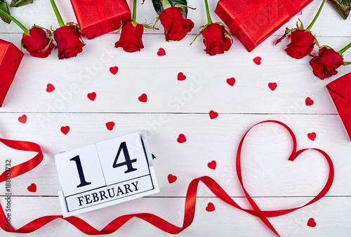 Valentines Day Background With Red Roses Gift Boxes Ribbon Shaped
