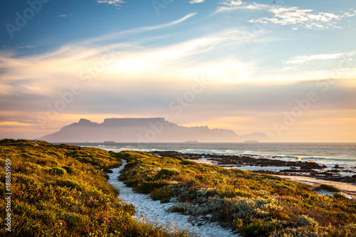 Canvas Prints South Africa table mountain cape town at sunset with path in dunes in foreground