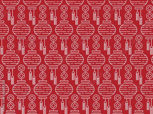 Chinese New Year Decorative Lanterns On A Red Background Lantern Motif Pattern