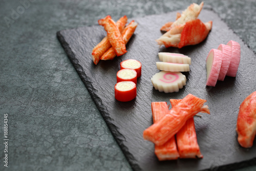 Photo  variety of surimi products, imitation crab sticks, japanese food