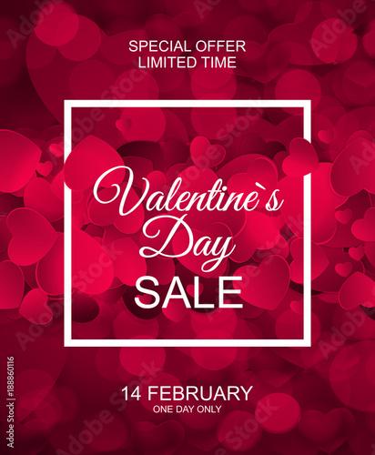 Fototapeta Valentines Day Sale, Discont Card. Vector Illustration obraz