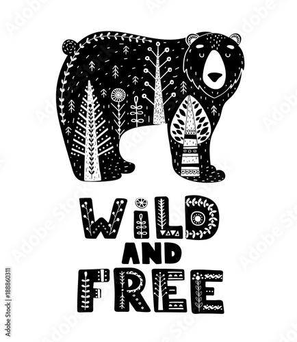 Czarno-białe karty z napisem i niedźwiedź w skandynawskim stylu. Kreatywny plakat ze zwierzęciem i frazą. Ilustracji wektorowych.