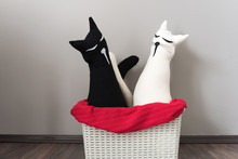Decorative, Black And White Cat Pillows - Perfect Gift