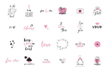 Set Of Black, White And Pink L...