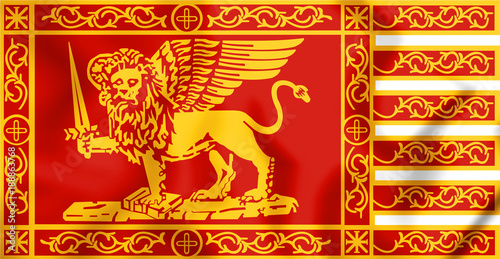 3D flag of the Republic of Venice. Canvas Print