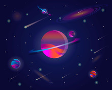 Vector Realistic And Futuristic Space Background With Bright Light Planets And Stars. Abstract Universe With Big Planet