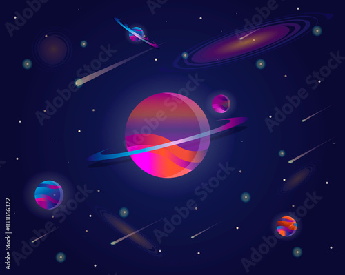 Vector Realistic And Futuristic Space Background With Bright Light Planets Stars Abstract Universe