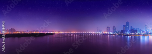 Fotobehang Seoel Night panorama of Yeouido island - famous buisness district of Seoul, South Korea