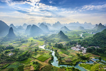Landscape Of Guilin, Li River And Karst Mountains. Located Near Yangshuo, Guilin, Guangxi, China.