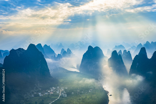 Foto op Canvas Landscape of Guilin, Li River and Karst mountains. Located near The Ancient Town of Xingping, Yangshuo, Guangxi, China.