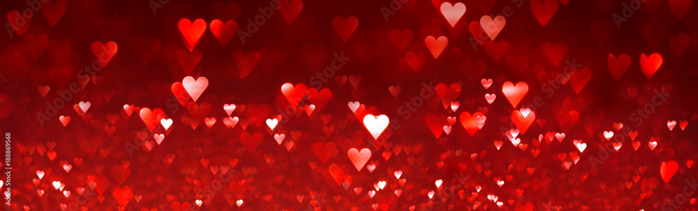 Fototapety, obrazy: Bright red hearts abstract background