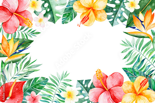 Watercolor tropical frame bordertexture with greensbranchexotic watercolor tropical frame bordertexture with greensbranchexotic flowers tropical leaves m4hsunfo