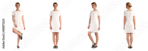 Naklejka premium Blondynka model w białej tuniki na białym tle