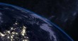 Beautiful Sunrise over Earth seen from Space, time-lapse, angled shot
