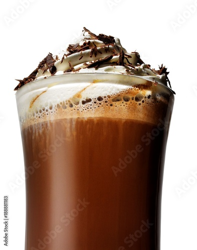 Close up of hot chocolate coffee drink