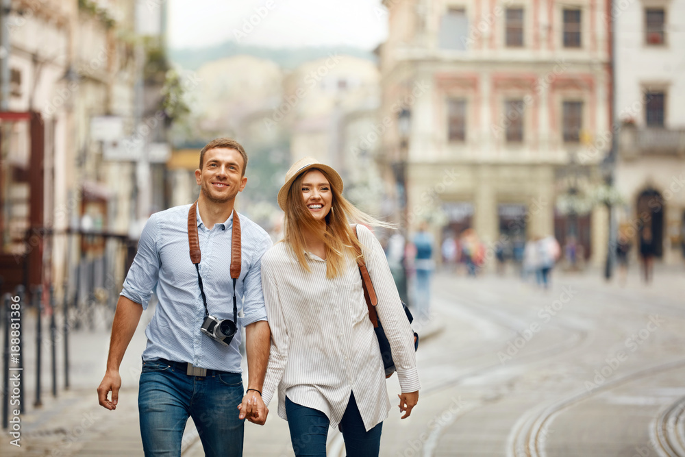 Fototapety, obrazy: Travel. Tourist Couple Traveling, Walking On Street